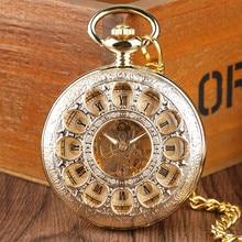 Fleurs creuses montre de poche mécanique main-vent rétro exquis chiffres romains Fob montres de poche reloj de bolsillo avec chaîne
