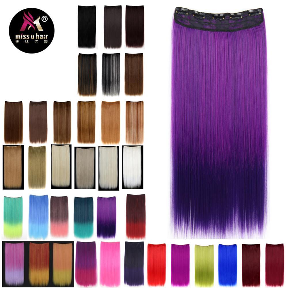 Женские синтетические волосы Miss U, длинные прямые волосы на клипсе, градиентные, красные, черные, фиолетовые, 5 клипс