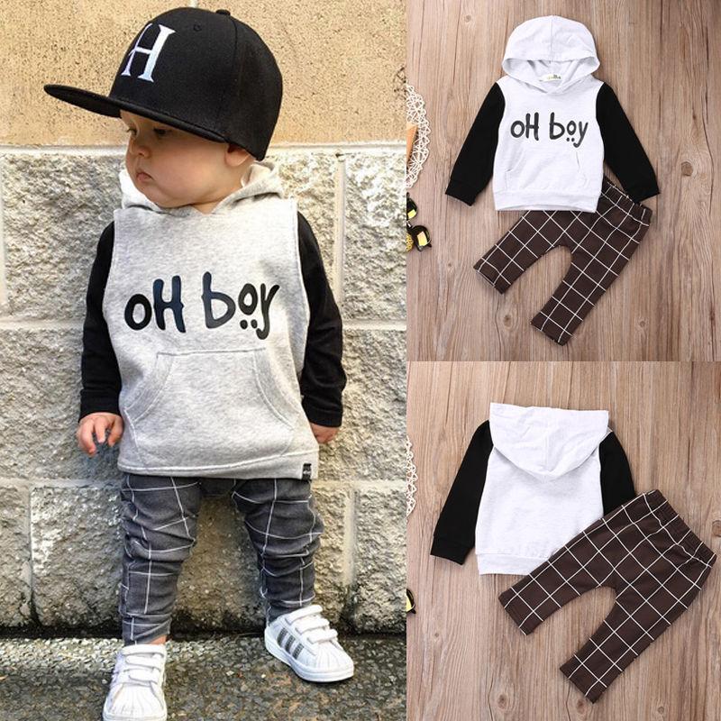 Pudcoco Junge Set 0-4Y Kleinkind Baby Jungen Mit Kapuze Hoodie Tops + Lange Hosen 2 stücke Outfits Baumwolle Kleidung Set