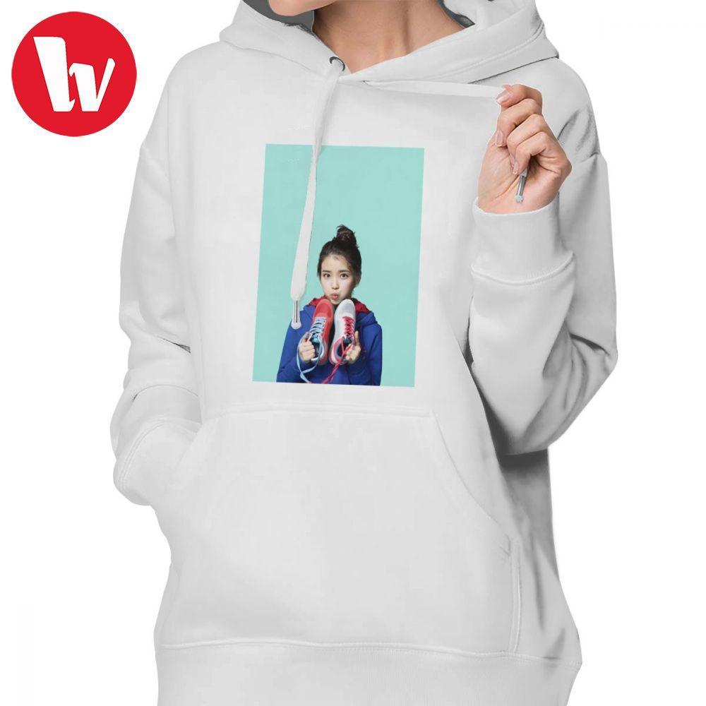 Kpop Iu Hoodie IU Hoodies Sexy Oversized Hoodies mujeres algodón gráfico de manga larga ropa de calle rojo Pullover Hoodie