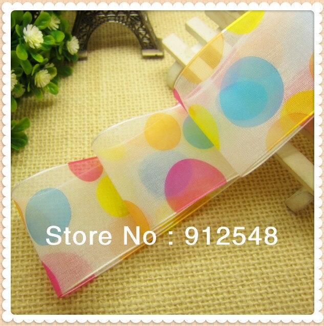Freies verschiffen 1-1/2 (38mm) farbe dots Organza Sheer Ribbon Wedding Party Favor Dekoration Handwerk, 9840