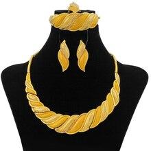 Dubai Afrikaanse Sieraden Sets Crystal Gold Ketting Set Geel Licht Gouden Nigeriaanse Sieraden Set voor Vrouwen