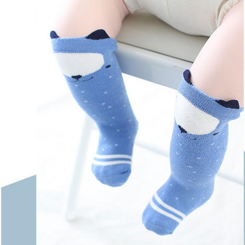 1 par Unisex adorable Animal de dibujos animados niños bebé calcetines rodilla niña niño bebé niño calcetines oso infantil algodón suave calcetines 0-3 Y
