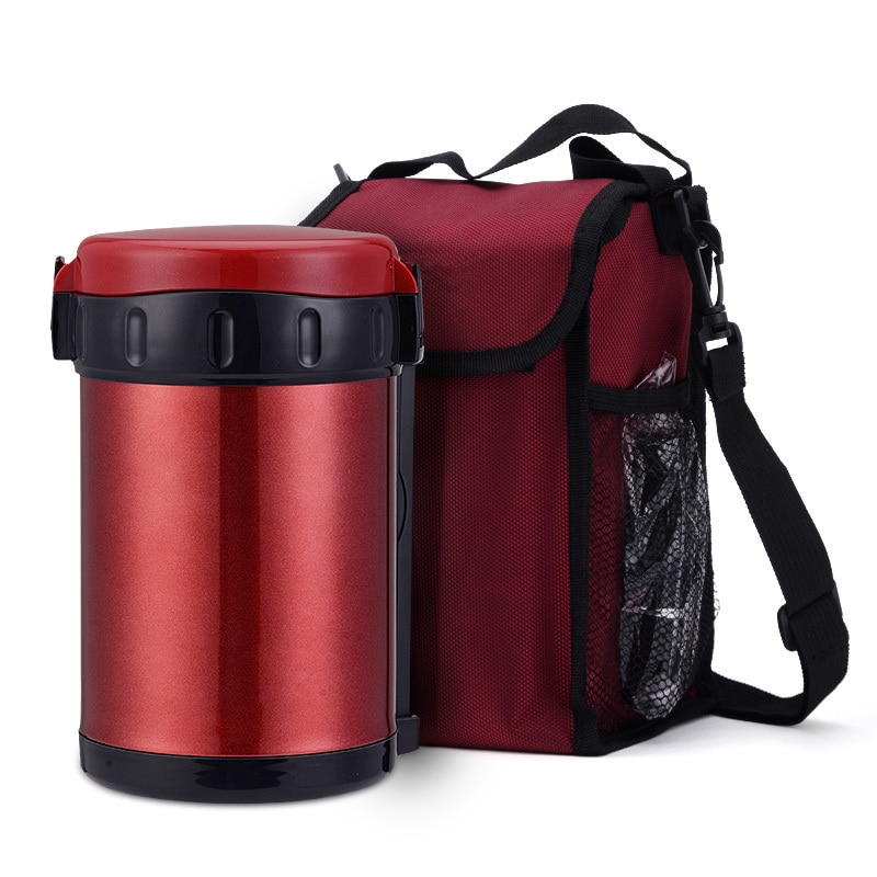 1800 ml Lebensmittel Behälter Mit Inox Schüssel Tragbare Tasche Vakuum Glas Thermos Suppe Becher