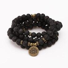 108 perlen Buddha Lotus Mala Armband für Frauen Männer 8mm Lava Rock Stein Strang Charme Armband oder Halskette Mode schmuck