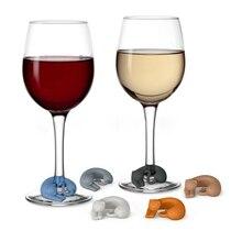 6 uds. Regalos de dijes gato copa de vino en forma de Animal etiqueta marcador pegatina fiesta de silicona taza fiesta vacaciones DIY Decoración