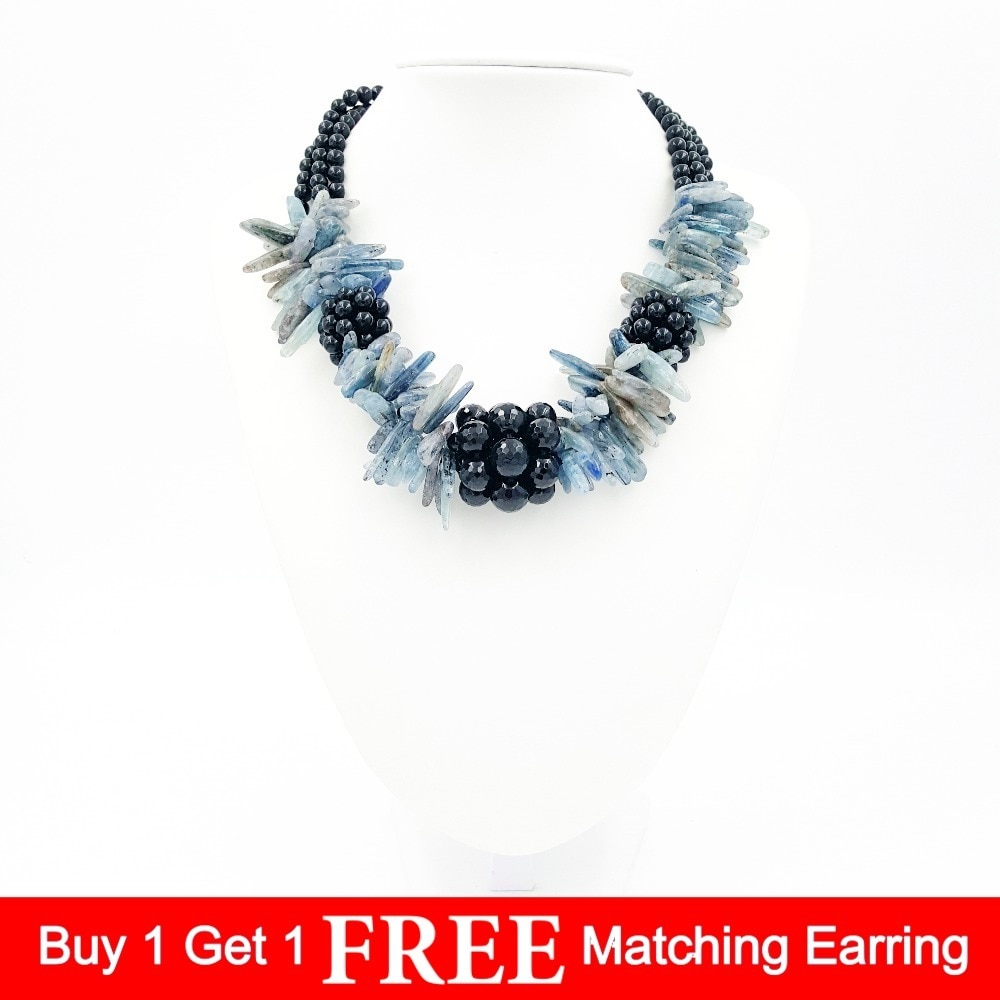 Piedra Natural ágata negro ónix factado cuentas y cianita azul chunky forma collar de moda 19 pulgadas