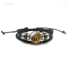 Statue of Dancing Shiva Black Leather Bracelet , Handmade Glass Cabochon Spiritual Jewelry  Bracelets, Special Gift