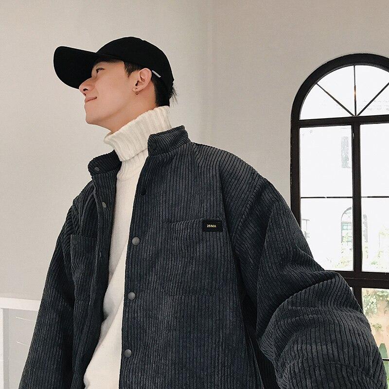 2018 outono e inverno coreia colarinho veludo espessamento trabalho com ferramentas casaco jaqueta masculina roupas de algodão preto/cinza escuro/pó M-XL