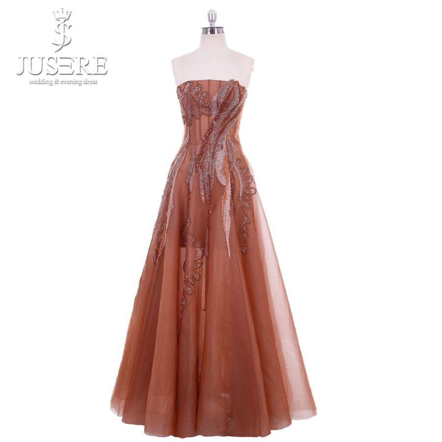 JUSERE Vestido De Festa Champagne Long Prom Dress  Hand Beaded A-Line Strapless Sleeveless Floor Length Formal Party Gowns