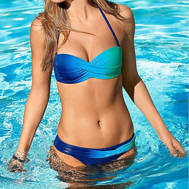 Sexy Bra Set Women Bandeau Bandage Bikini Padded Set Brazilian Swimwear Beachwear 2019 Fashion