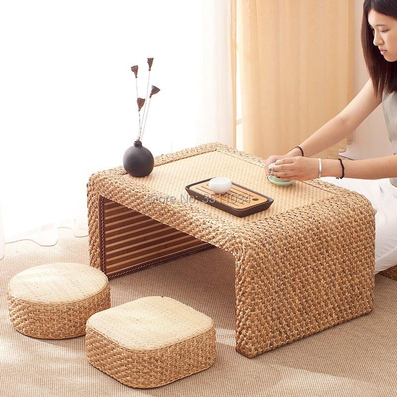 Plataforma de mesa de té tatami de tejido de paja de vid japonesa y coreana, mesa Kang, mesa de ventana flotante, pequeña mesa de té