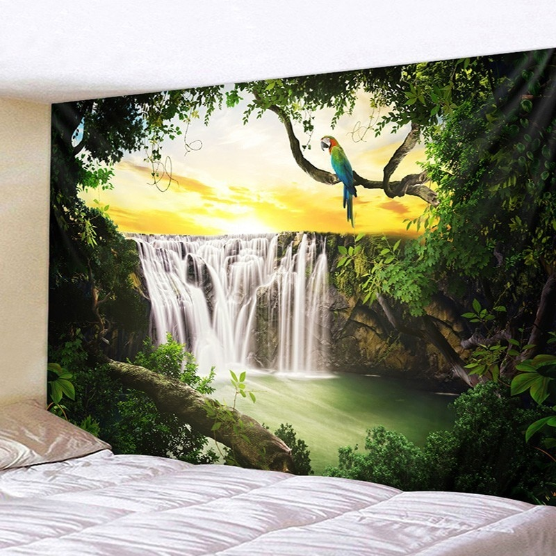 Mandala indiano tapeçaria parede pendurado cachoeira céu beleza madeiras papagaio hippie colcha cigana arte decoração lance mandala tapeçaria