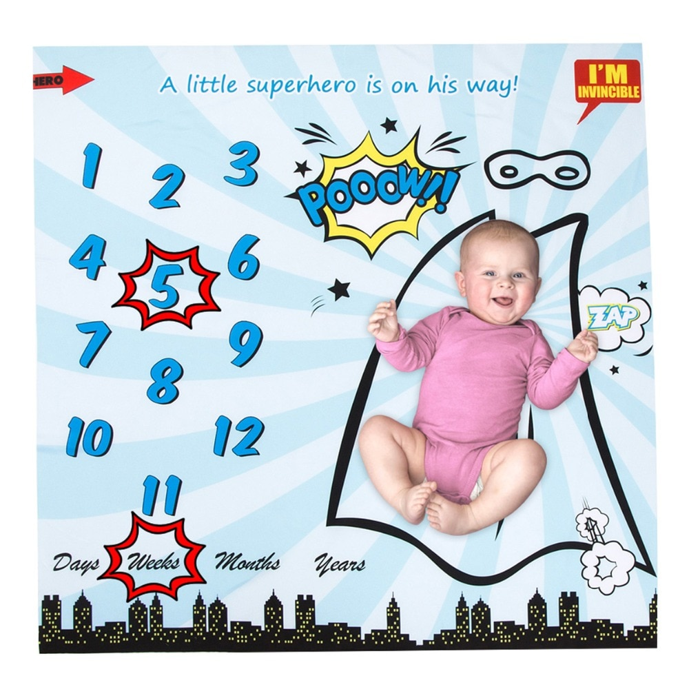 Manta de bebé para bebé, manta para fotografía, manta de apoyo, telón de fondo, calendario de superhéroe, bebé, niño, niña, accesorios para fotos de 40*40 pulgadas