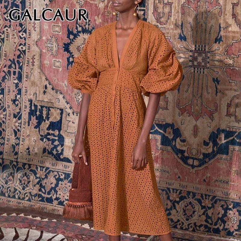 GALCAUR Summer Vintage Solid Women Dress V Neck Short Sleeve High Waist Hollow Out Button Midi Dresses Female Fashion 2020