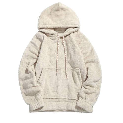 Men Women Ladies Sweatshirt Hoodie Pullover Hoodies Cotton Fashion Plain Design Jumper Casual White