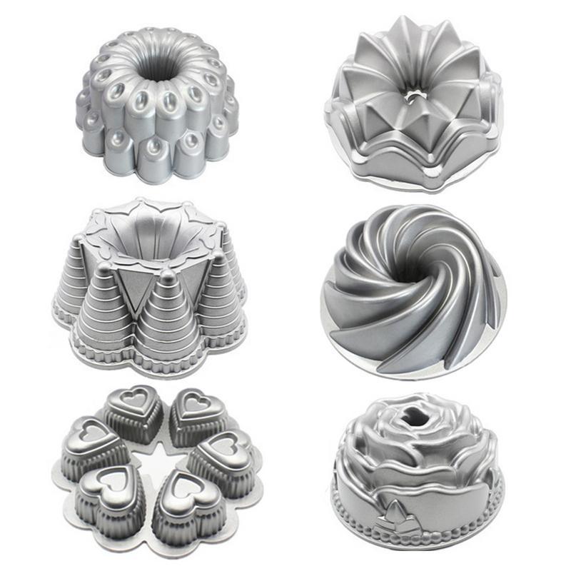 Aluminum Die Cast Heavy Cake Pan Non Stick Cake Mold Metal DIY Kitchen Supplies Bakeware 6 Shapes