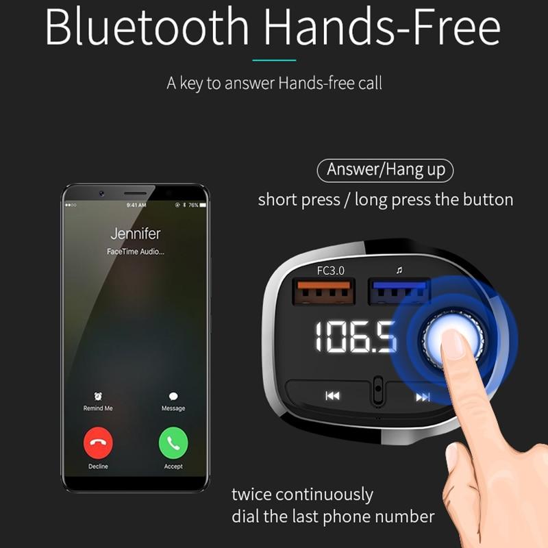 Transmisor Inalámbrico de FM jugador manos libre 12 V Bluetooth 4,1 Mp3 reproductor de música Kit de coche soporte para USB adaptador de carga