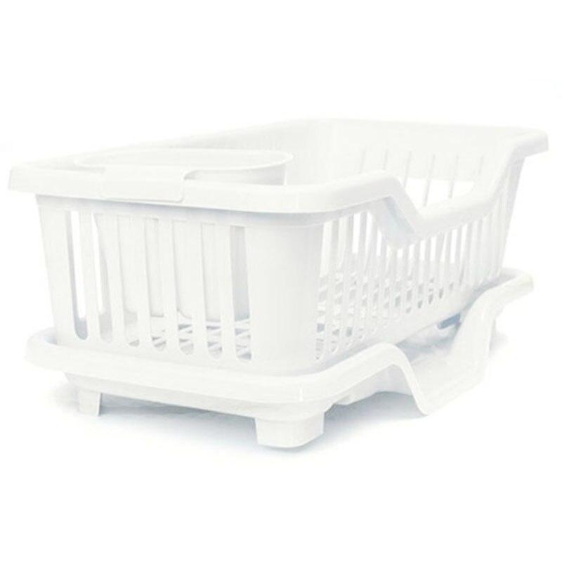 Nuevo-plato de cocina, escurridor de utensilios, escurridor, soporte para estante de secado, bandeja organizadora de cesta, blanco