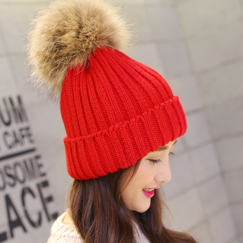 Nueva moda dulce mujer abrigo invernal crochet tejido gorro de boina gorras de bola sombreros nuevo color rojo