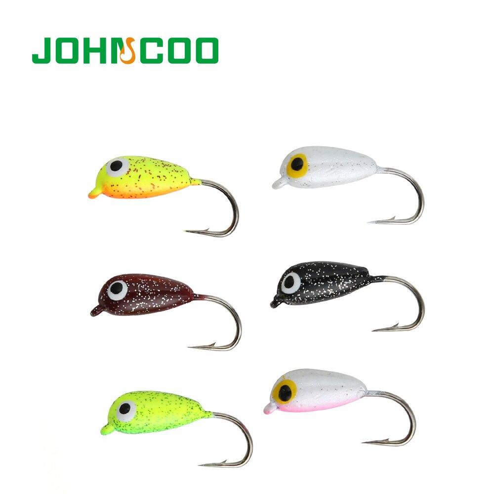 JOHNCOO Winter Fishing Hook 6pcs 1.9g Lead Head Hook Jig Head Multicolor Lure Hook Fishing Tackle