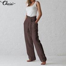 Celmia Retro Women Trouser 2020 Summer Wide Leg Pants Casual Loose Solid Harem Pant Belt Pockets Long Pantalon Plus Size Palazzo