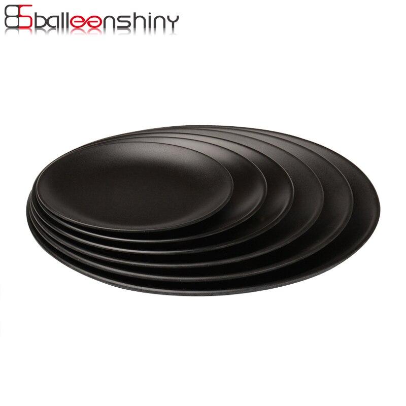 Bandeja redonda de Melamina negra BalleenShiny, platos de cena, platos de comida, aperitivos, platos de cena para filete de Sushi, vajilla para restaurante de Hotel, herramienta