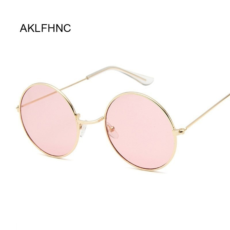 2019 Retro Round Pink Sunglasses Women Brand Designer Sun Glasses For Women Alloy Mirror Female Ocul