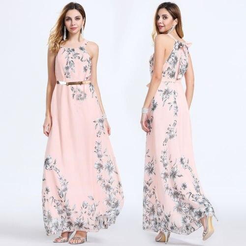 2018 novas mulheres verão rosa vestido casual floral sem mangas festa à noite cocktail longo vestido de praia