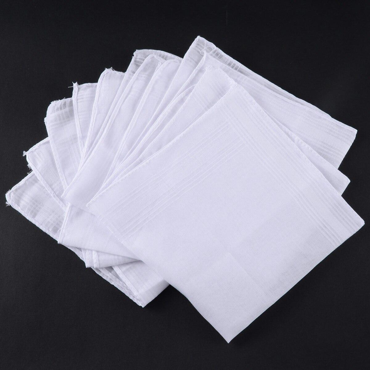 5 uds. De bolsillo blanco de algodón pañuelos sólidos Hankie con rayas hombres 40*40cm cuadrados Hanky fiesta Vintage regalo pañuelos