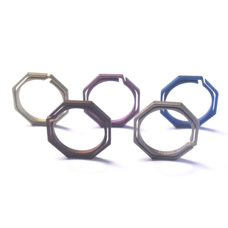 Llavero gadget equipo de hebilla cuelgue Octagon Titanium TC4 Ti kit de gancho de bolsillo multi llavero clip edc