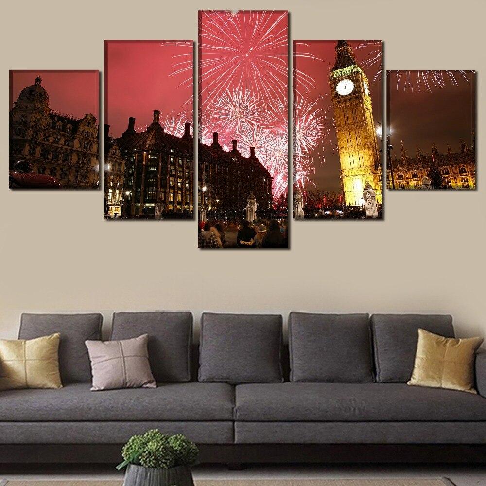 Pared arte hogar decorativo 5 piezas Londres gran Ben paisaje los fuegos artificiales Imagen Arte moderno impresión tipo póster lienzo pintura