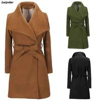 laipelar women jackets elegant wool blends pocket bow tie belt coat fashion streetwear solid big collar slim ladies blend coat