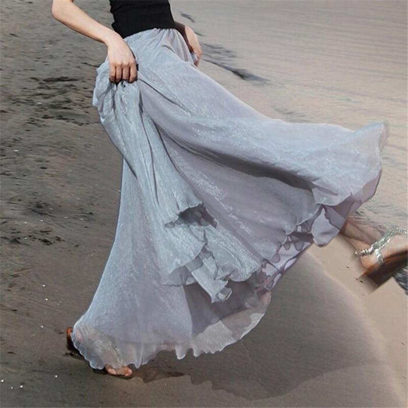 Boho faldas de muselina para mujer Color sólido Maxi faldas 2019 moda mujer playa Casual Sundress falda Lot
