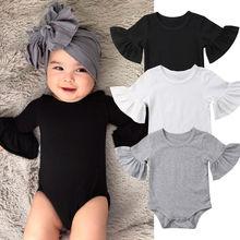 Tenue pour nouveau-né fille   Manches évasées, couleur unie, combinaison en coton, vêtements pour bébé 0-24M