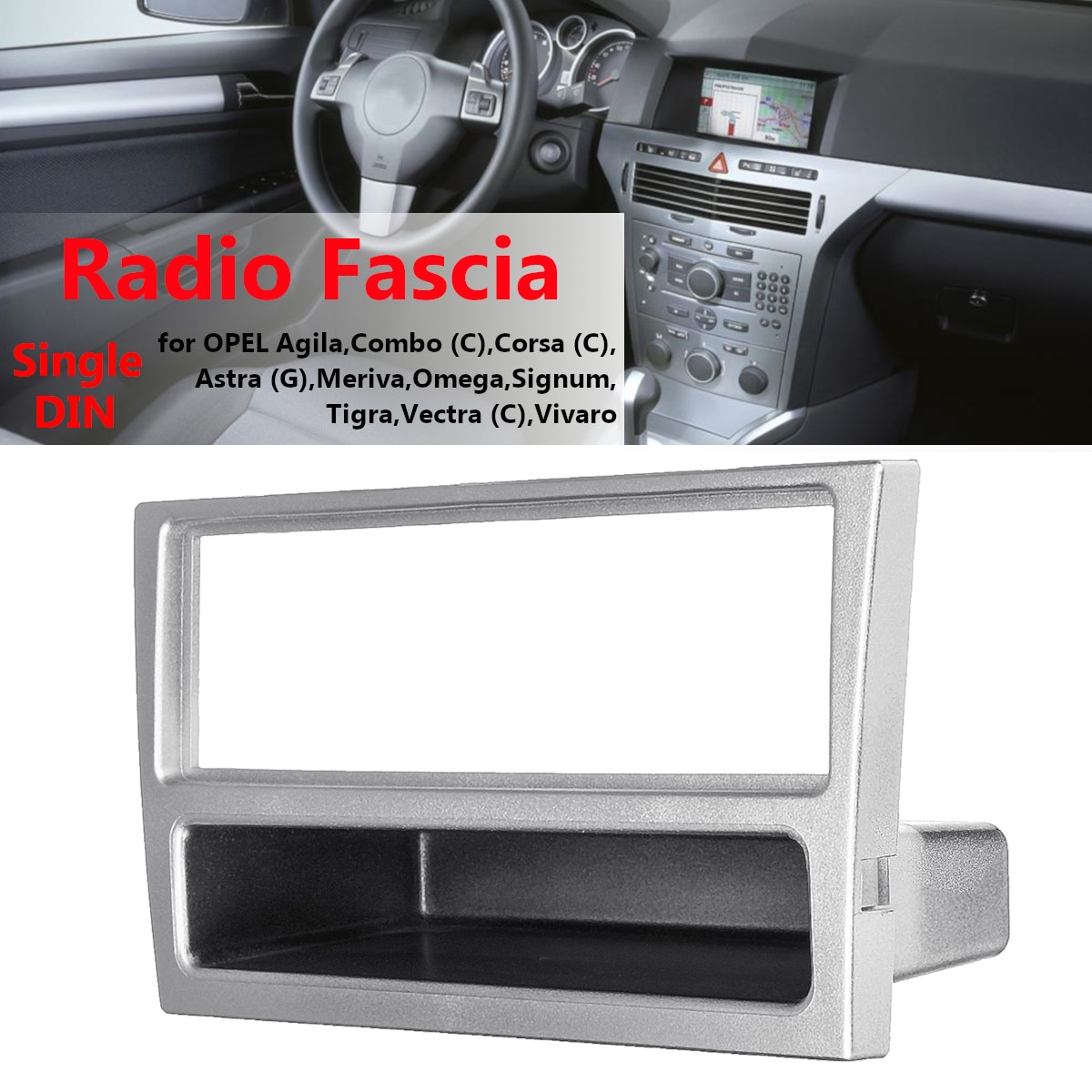 1 Din Car Stereo Radio Fascia Panel Plate Frame for OPEL Agila Tigra Astra 2004-2009 Dashboard Panel DVD Player
