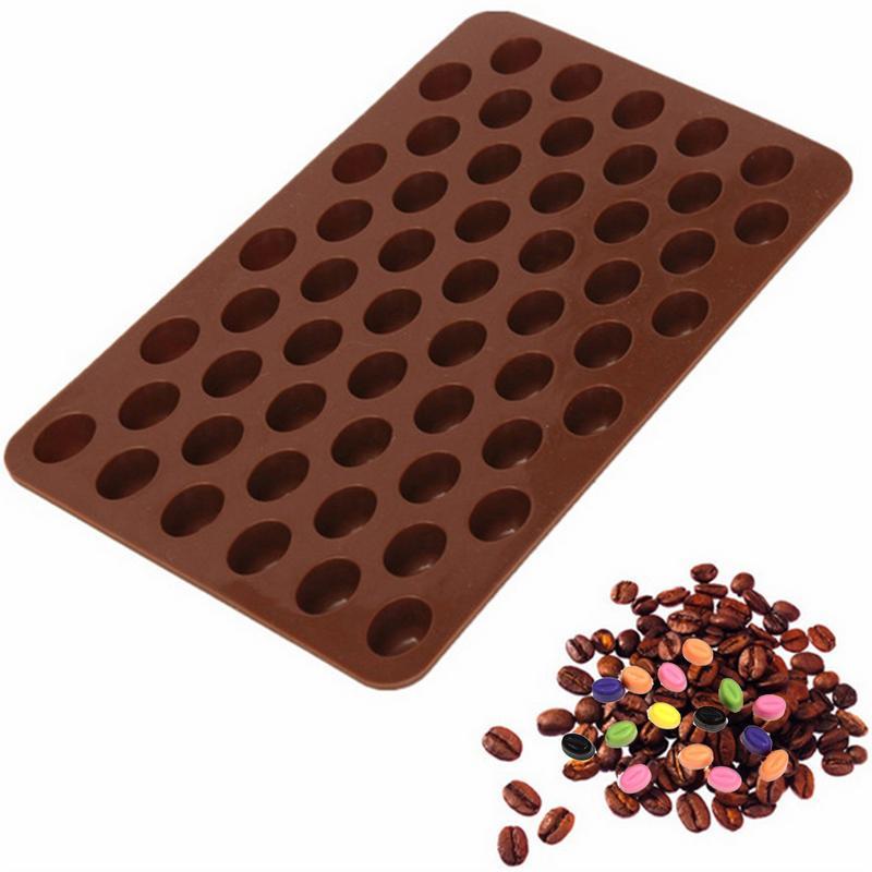 55 полость мини кофе в зернах форма лоток для выпечки инструменты для украшения шоколадного торта помадка силиконовые конфеты формы для тор...