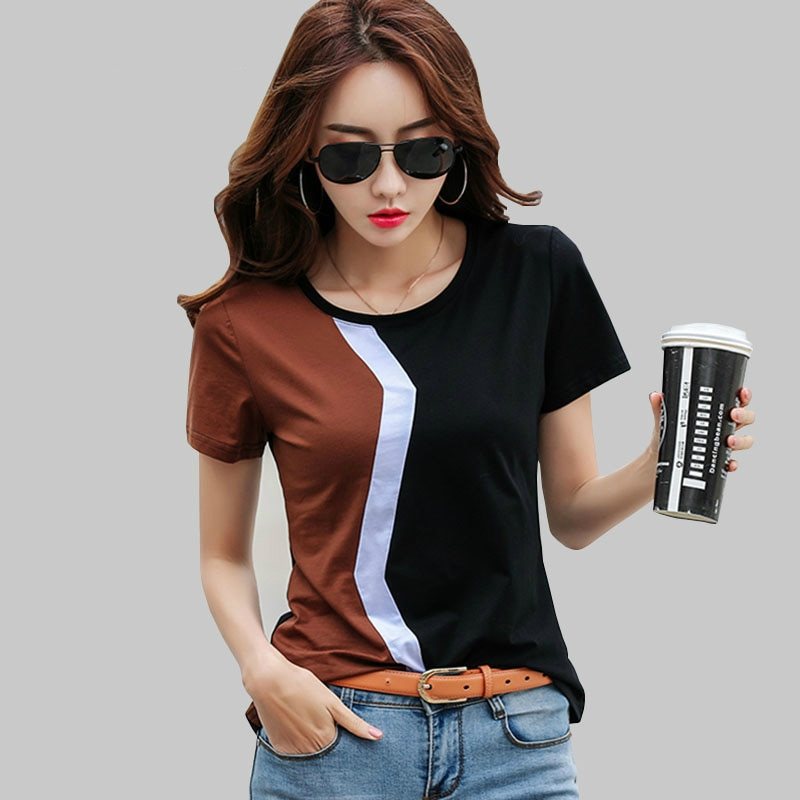 Simple Stitching Female  Shirt Casual women tops 2019 spring summer cool short sleeve shirt blusas 3189 50