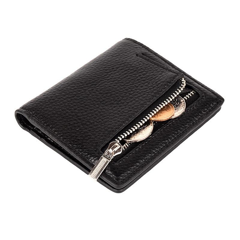 Женский компактный кошелек из натуральной кожи, двойной карман, мини-кошелек с окошком Id, Прямая поставка, модный кошелек 592-40