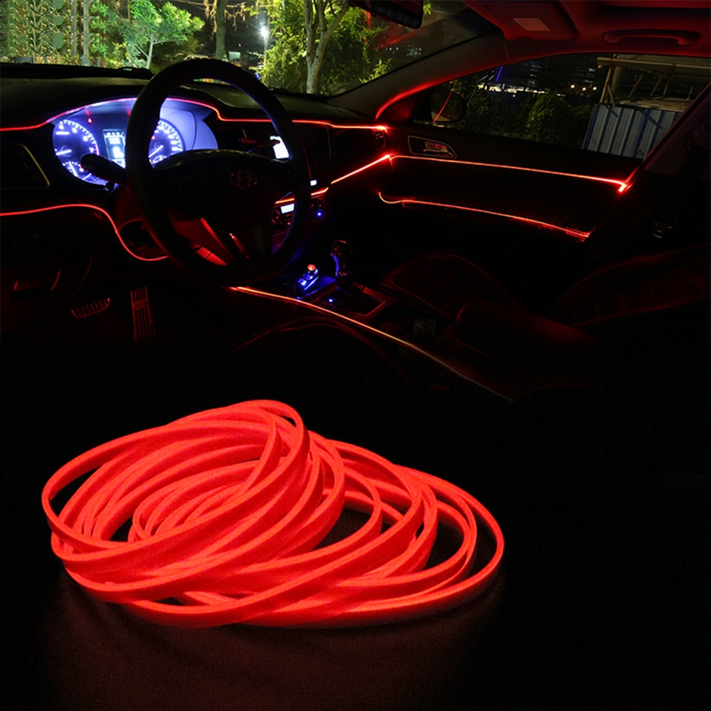 LEEPEE, Lámpara decorativa para coche, 12V, luces LED frías, lámparas automáticas, estilo de coche, tiras de luz de 5m, cable Flexible para EL neón