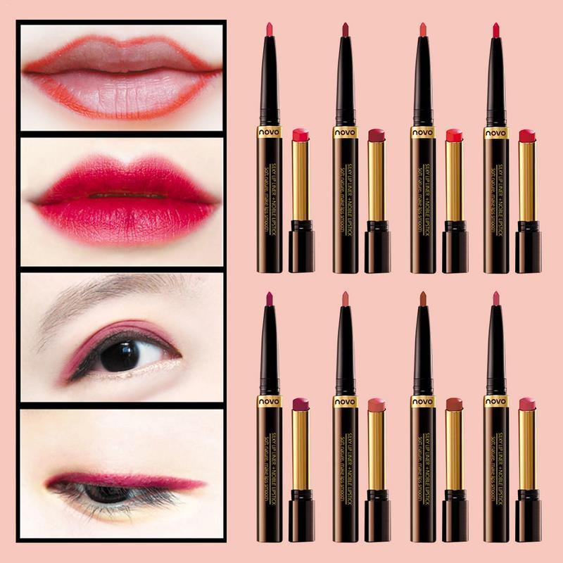 Doble lápiz labial + trazador de líneas del labio pluma con un lápiz labial hidratante Pomelo de pasta de frijol de color ciruela lápiz labial