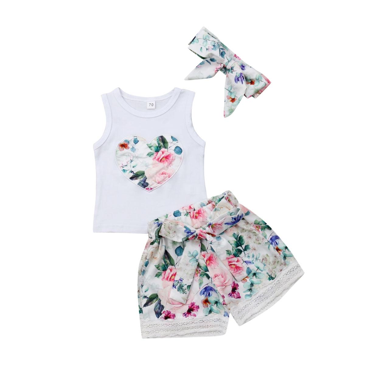 3 piezas verano recién nacido bebé niña ropa otton sin mangas Floral Tops encaje pantalones trajes Sunsuit diadema verano conjuntos
