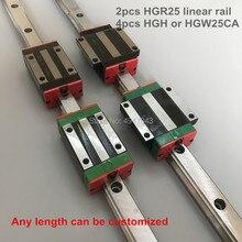 25MM 2pcs linear rail HGR25 1100mm 1200mm 1500mm cnc parts and 4pcs HGH25CA or HGW25CC linear guide rails block HGW25CC hgh25