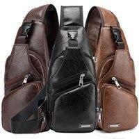 Мужской рюкзак через плечо с USB-зарядкой, нагрудная Сумка-слинг, водонепроницаемые черные коричневые сумки