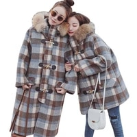 women winter lattice jacket thick coat big fur collar wool blend parka horn button loose overknee cashmere long overcoat hj09