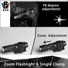 Tactique Airsoft casque Mini télescopique Zoom lampe de poche tactique lampe de poche montage simple pince