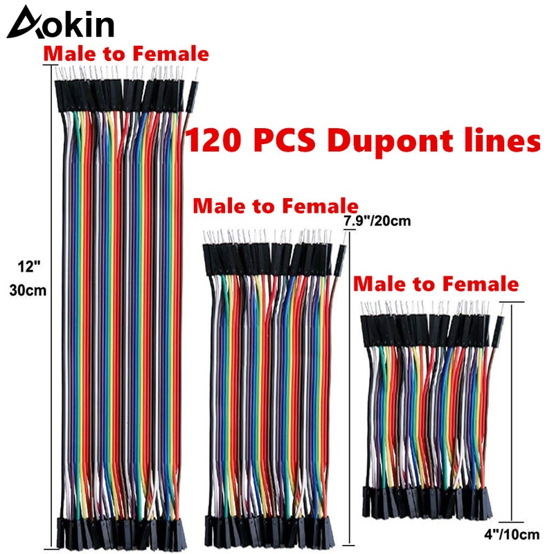 120pcs Dupont Wire Jumper 40pin Male to Female 10cm/20cm/30cm for Arduino Breadboard/Based/DIY/ Raspberry Pi 2 3 Ribbon Cables недорого