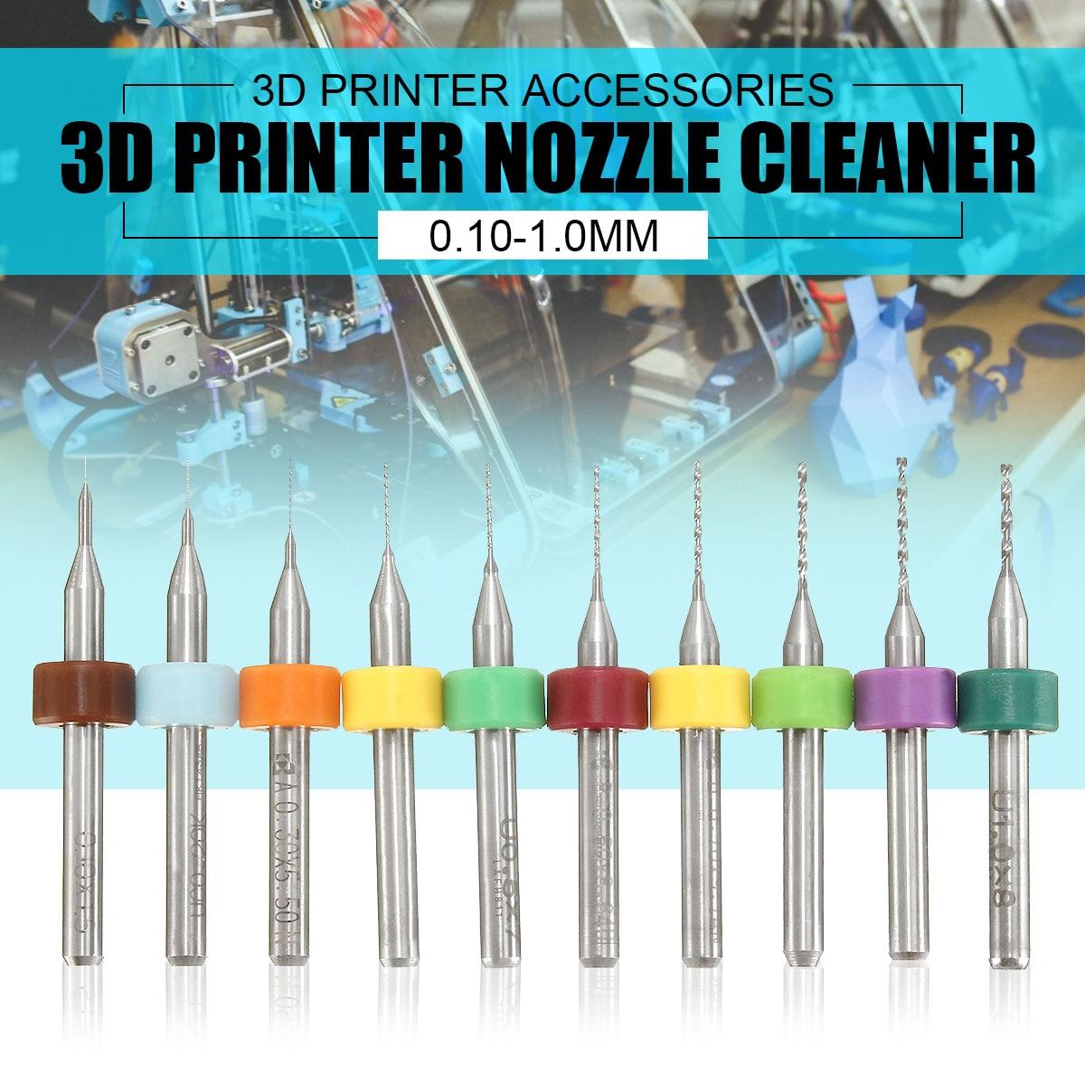 GEEETECH 10 teile/satz 0,1-1,0mm Vhm PCB Bohrer Düse Reinigung Reiniger für Extruder RepRap 3D Drucker zubehör