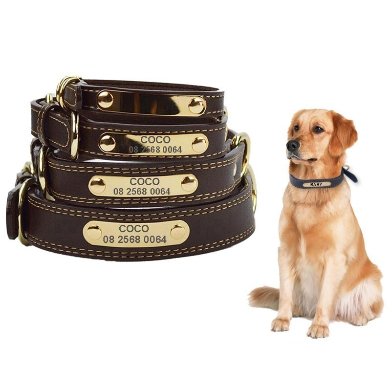 """Collar de lujo para perro con nombre de identificación, Collar de cuero para perro grabado de 0,6 a 1,2 """"de ancho, Collar grande para perro Pitbull Bulldog, etiqueta de Mascota, collares para cachorros"""