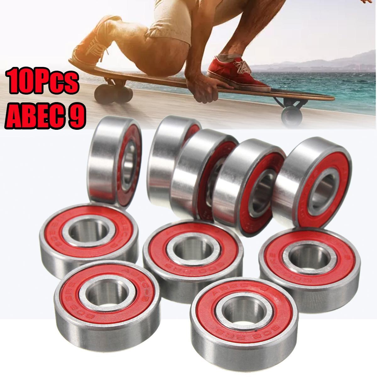 Rueda de patín en línea 10x ABEC-9 608 2RS, rodamiento de patín, rodamiento de patinete antioxidante, rodamiento rojo sellado 8x22x7mm, eje